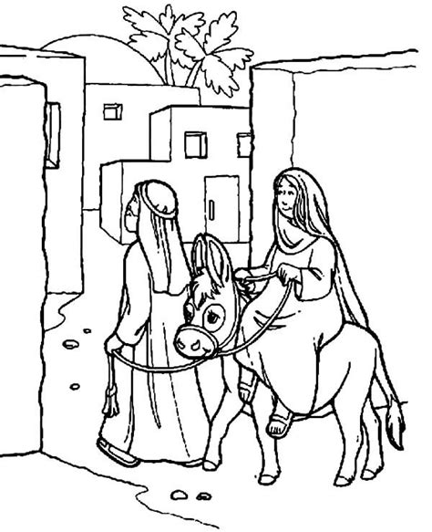 coloring pages mary and joseph bethlehem joseph and mary the donkey enter bethlehem coloring pages