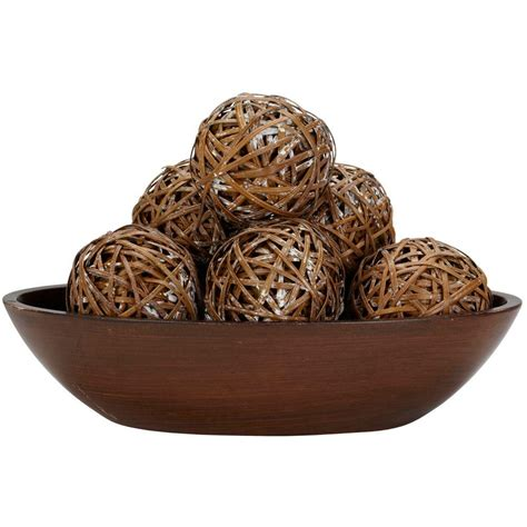 home decor balls nearly natural 3 75 in h brown decorative balls set of 6