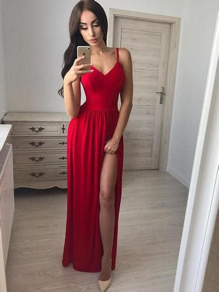 custom simple sexy red side slit long evening prom dresses