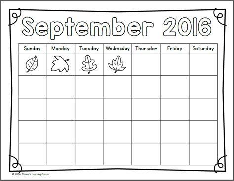 printable calendar 2017 for kindergarten kindergarten and first grade calendar notebook 2016 2017