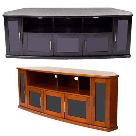 Black Tv Cabinet With Doors Plateau Newport Series Corner Wood Tv Cabinet With Glass Doors For 90 Inch Screens Black Or