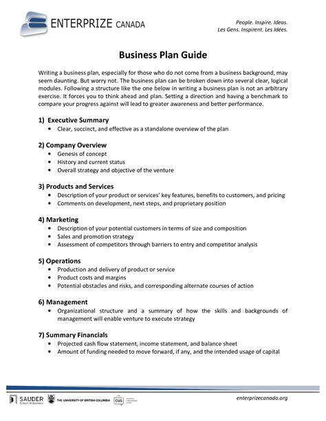 canada business plan template free printable business plan sle form generic
