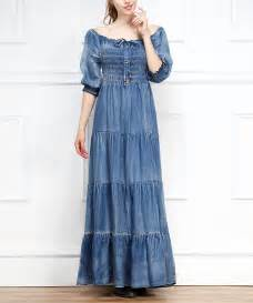 blue shirred chambray maxi dress zulily