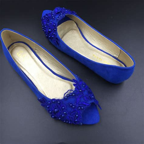 Blue Wedding Shoes Flats by Blue Peep Toe Wedding Shoes Royal Blue Bridal Dress