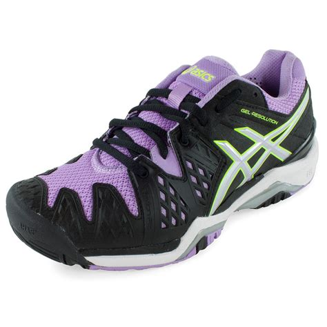womens black tennis shoes asics s gel resolution 6 tennis shoes black and