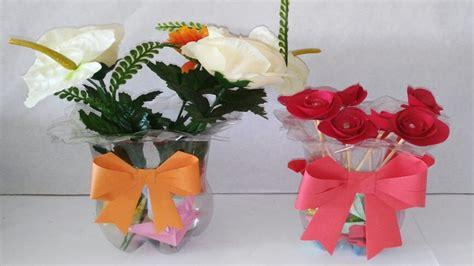floreros con botellas de plastico jarron o florero con botellas de plasticos recicladas diy
