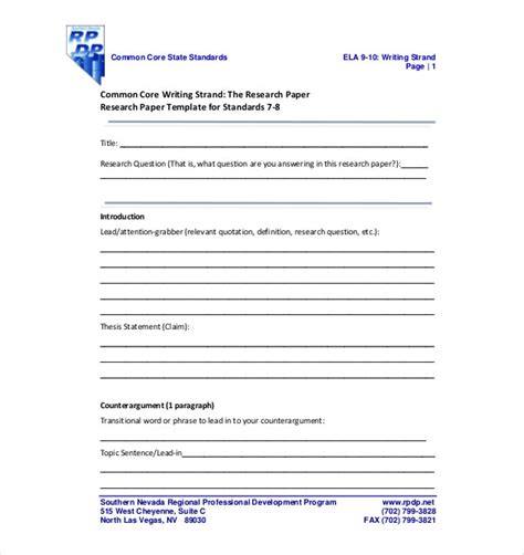 Template For Research by 8 Research Paper Outline Templates Free Sle Exle