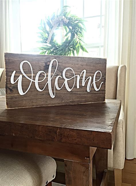 welcome sign home decor rustic painted wood sign
