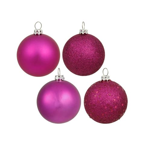 magenta ball ornaments 6 quot assorted finish set of 4