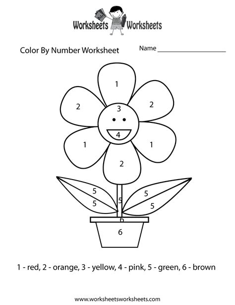 Easy Color By Number Worksheet Free Printable Free Coloring Worksheets
