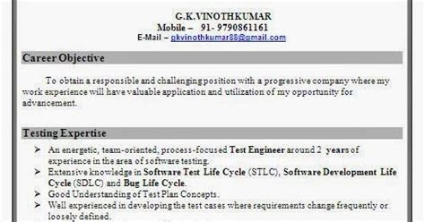 resume format for experienced test engineer software test engineer resume format