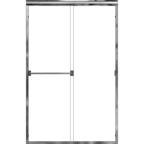 Basco Sliding Shower Doors Basco Classic 60 In X 70 In Semi Frameless Sliding Shower Door In Silver With Clear Glass