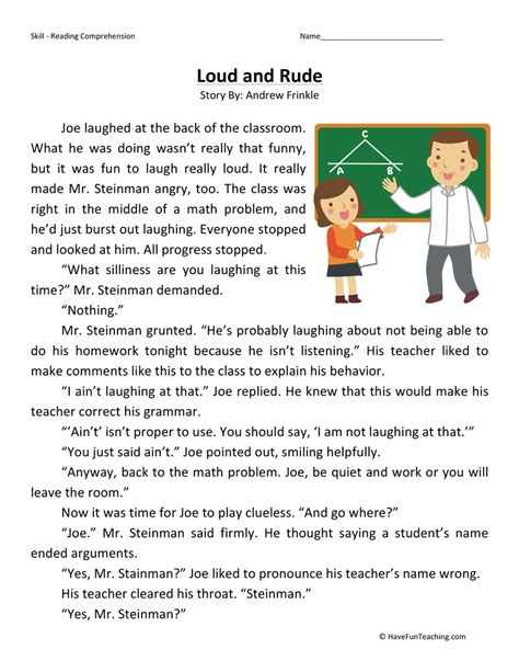 4th Grade Reading Comprehension Worksheets With Answers by Loud And Rude Reading Comprehension Worksheet