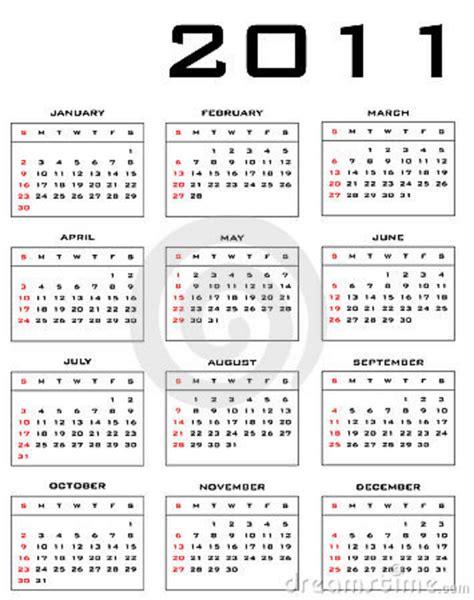 calendario del contribuyente enero 2011 calendario 2011 del vector imagenes de archivo imagen