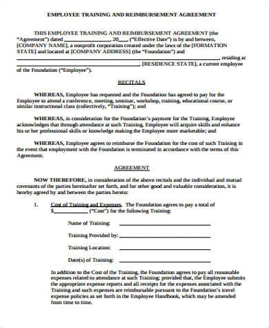 sle training agreement 9 exles in word pdf