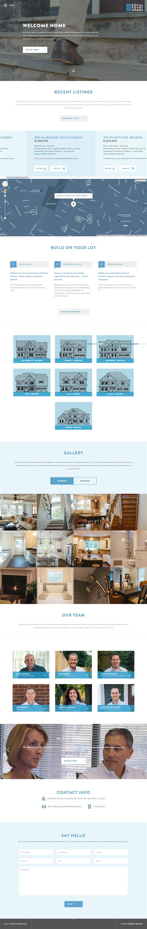 focal point homes focal point homes one page website award