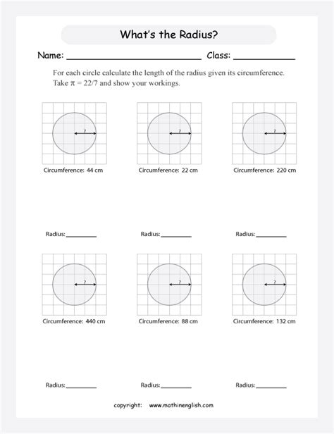 printable math worksheets circumference calculate the radius of these circles given their
