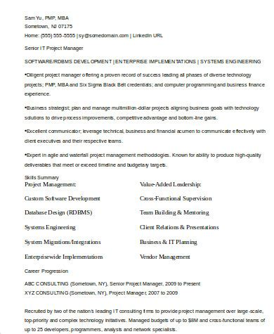 Experienced Project Manager Resume by Sle It Manager Resume 8 Exles In Word Pdf