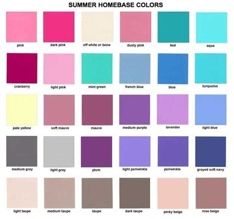 summer colors summer homebase colors color analysis summer type 2