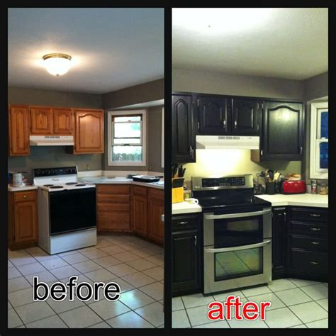 Re Stained Cabinets Using Java Gel Stain Very Easy To Use Black Stained Kitchen Cabinets