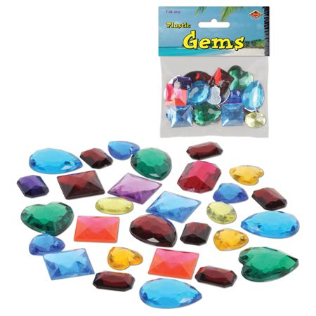 multi colored plastic gems jewels birthday pirate