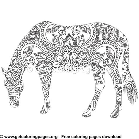 easy  zentangle horse pattern coloring pages