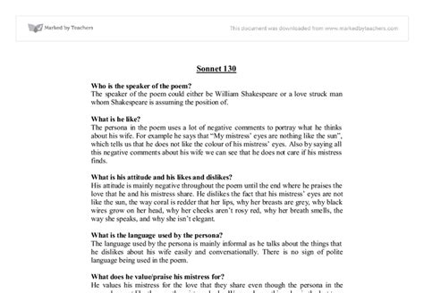 Sonnet 18 Analysis Essay by Shakespeare Sonnet 130 Analysis Ess