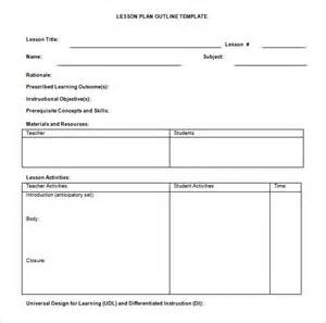 Outline Of A Lesson Plan Template by Lesson Plan Outline Template 12 Free Sle Exle
