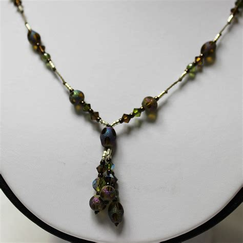 stardust drop necklace silver brown green v jewelry