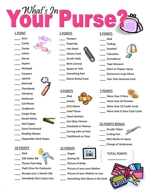 Printable Bridal Shower Purse Raid List | related keywords suggestions for purse raid