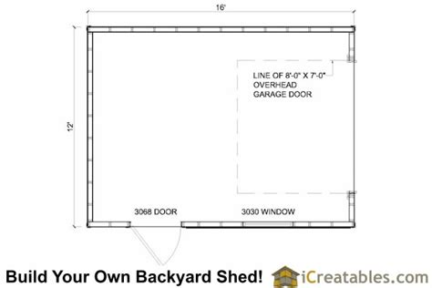 garage door floor plan 12x16 shed plans with garage door icreatables