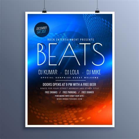 Flyer Vorlage Blau Musikparty Werbung Flyer Vorlage In Blau Und Orange Farben Der Kostenlosen Vektor