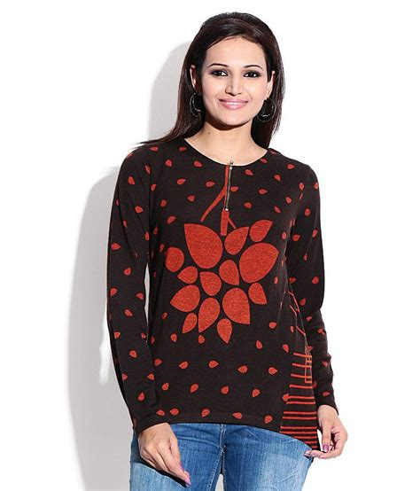 madame top buy madame brown woollen top at best prices in