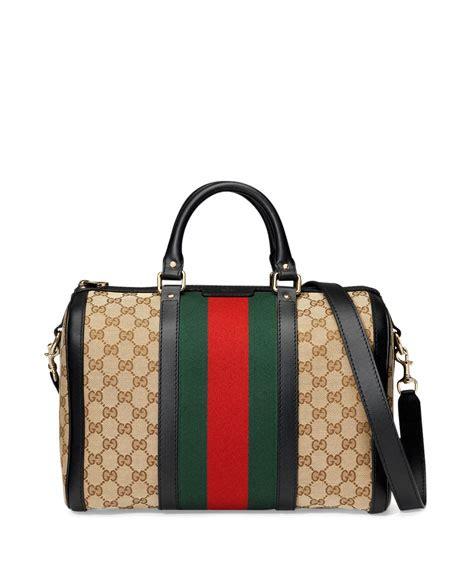 Gucci Romy Medium Boston Bag by Gucci Vintage Web Medium Boston Bag Black Green