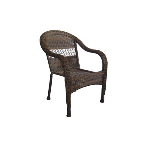 Wicker Patio Chair Shop Garden Treasures Severson Brown Wicker Stackable Patio Dining Chair At Lowes