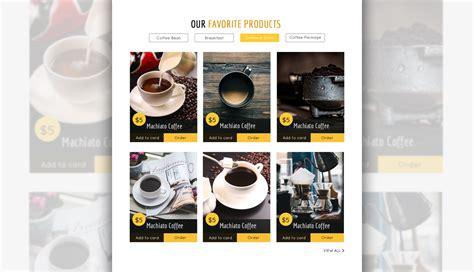 coffee shop ui design kafeinate free coffeeshop logo one page ui designs