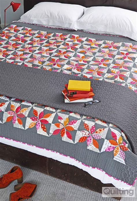 Patchwork Quilts To Buy - petals quilt using freehand machine applique and quilting