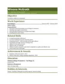 restaurant cashier resume sle resume template 2017