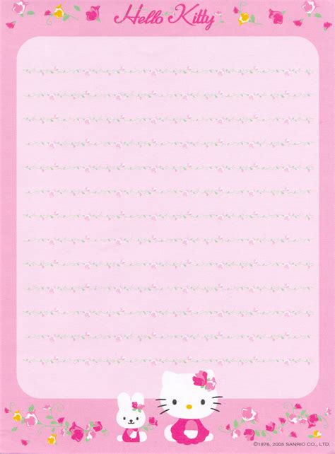printable hello kitty notebook paper hello kitty printable paper www pixshark com images
