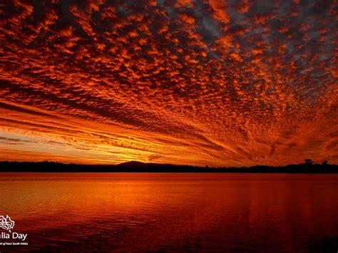 living  australia postcards sunset sky  red clouds