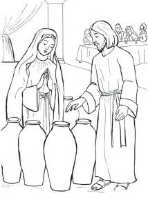 turns water into wine at the bible coloring sheets wedding