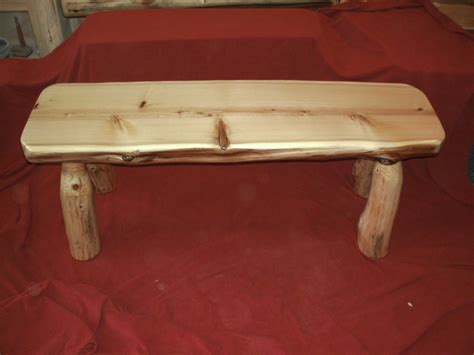 white cedar log bench 4 white cedar half log bench finished