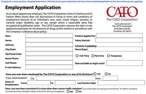 Printable Job Application For Catos | cato application online job employment form