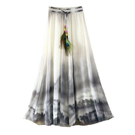 מוצר 2017 chiffon bohemian skirts womens summer 2017 summer bohemian skirt chiffon vintage faldas largas print saia longa