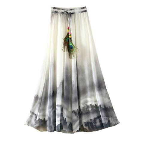 2017 summer bohemian skirt chiffon vintage faldas