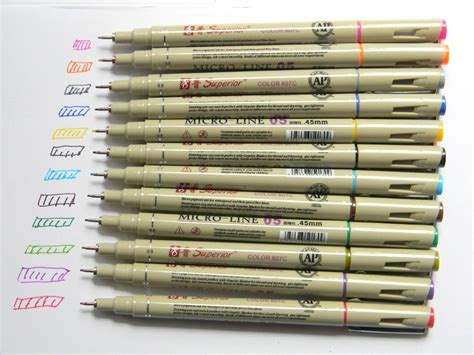 micron pens color 12 pcs different color 05 superior needle drawing micron