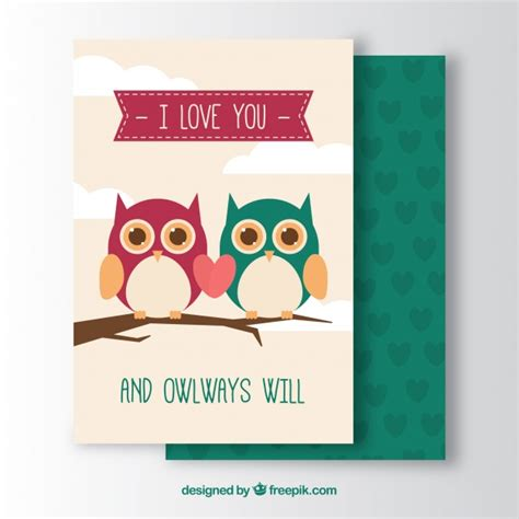 greeting card template with cute owl vector free download romantic greeting card with cute owls vector free download