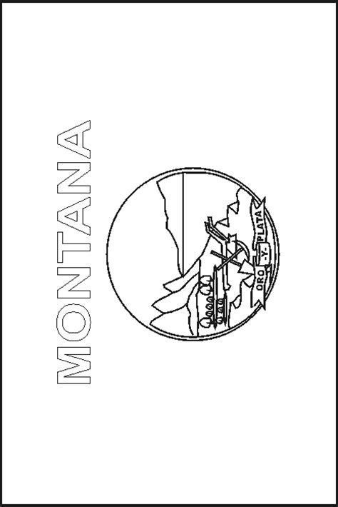 Montana State Flag Coloring Pages Usa For Kids Montana Coloring Page