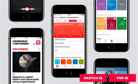 Ios Ui Kit Ios 10 For Mobile Design 1000 Elements Ios App Templates Free
