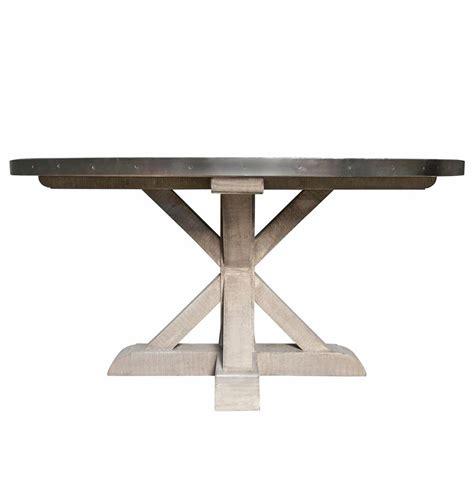 lewiston industrial loft zinc top x base round dining